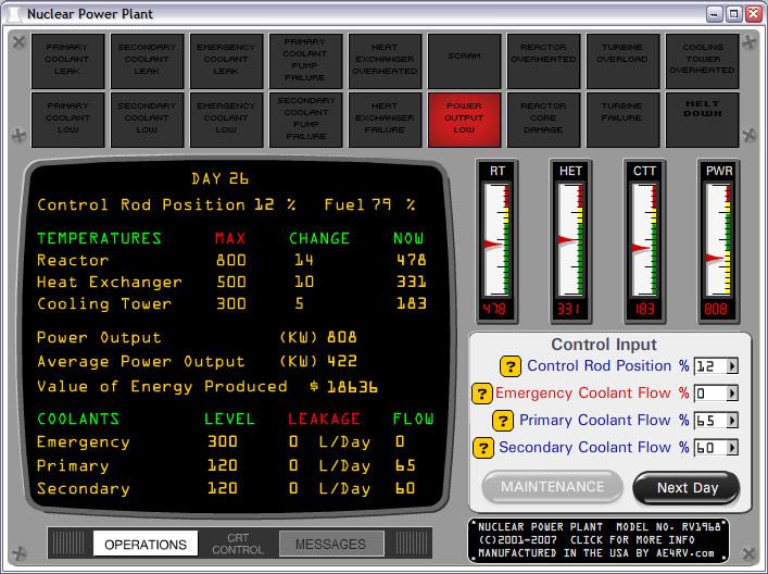 Click to view Nuclear Power Plant Simulator 1.30 screenshot